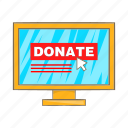 cartoon, coin, donation, laptop, online, pc, screen icon