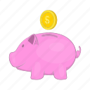 bank, box, cartoon, money, pig, piggy, pink icon