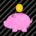 bank, box, cartoon, money, pig, piggy, pink icon