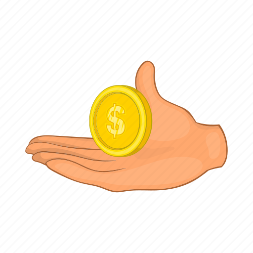 cartoon, coin, donation, giving, hand, money, paying icon