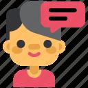 avatar, boy, chat, communication, man, message, social icon