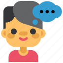 boy, chat, communication, man, message, social, think icon