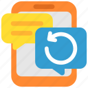 chat, communication, mail, message, phone, reboot, social icon