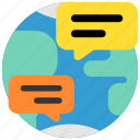 chat, communication, message, network, planet, social, world icon