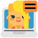 chat, communication, correspondence, girl, message, social, videochat icon