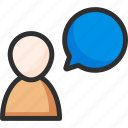 box, bubble, chat, man, message, people, user icon