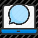 box, bubble, chat, computer, laptop, message icon