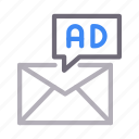 ad, email, inbox, marketing, message icon