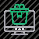 box, gift, present, screen, surprise icon