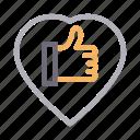 favorite, heart, like, love, thumbsup icon