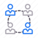 communication, connection, group, network, team icon