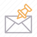 attach, email, inbox, message, pinned icon