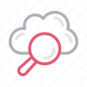cloud, find, magnifier, search, storage icon