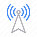 antenna, connection, signal, tower, wireless icon