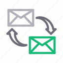 email, exchange, inbox, messages, transfer icon