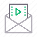 email, inbox, media, message, video icon