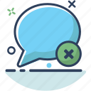 bubble, chat, communication, delete, erase, message, talk icon
