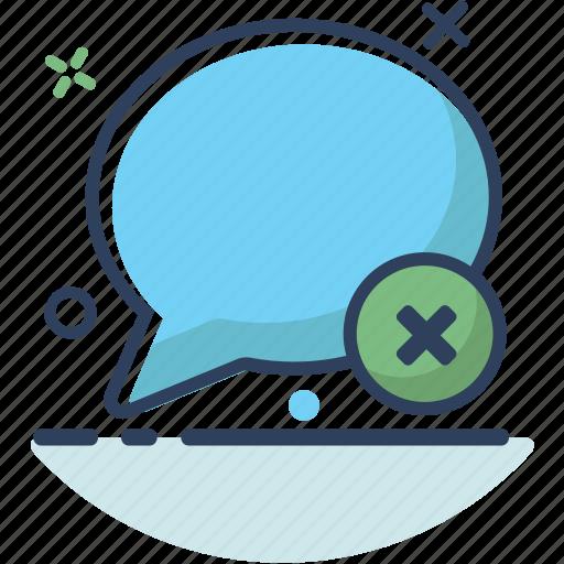 bubble, chat, communication, delete, erase, message, talk icon
