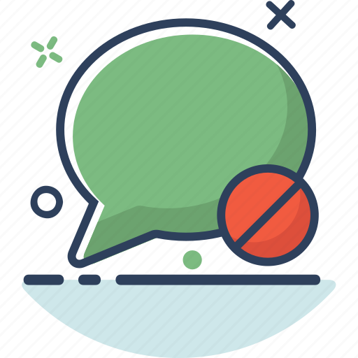 bubble, chat, chat icon, communication, message, prohibited, talk icon