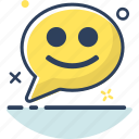bubble, chat, chat icon, communication, message, smile, talk icon