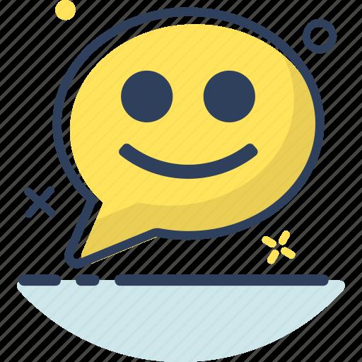 bubble, chat, chat icon, communication, message, smile, talk icon