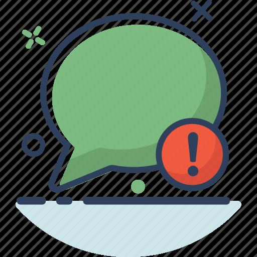 bubble, chat, communication, conversation, message, talk, warning icon