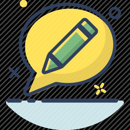 bubble, chat, message, pencil, talk, type, write icon