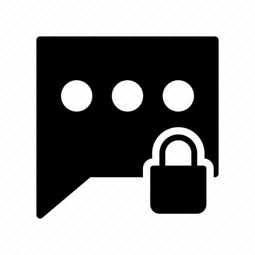 bubble, chat, lock, message, protection icon