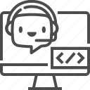 chat bot, coding, computer, developer, robot, software, support