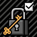 check, keylock, mark, passed icon