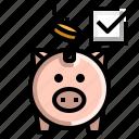 check, mark, passed, piggy icon