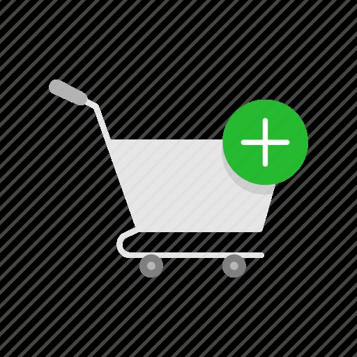 add item, cart, online shopping, push cart icon