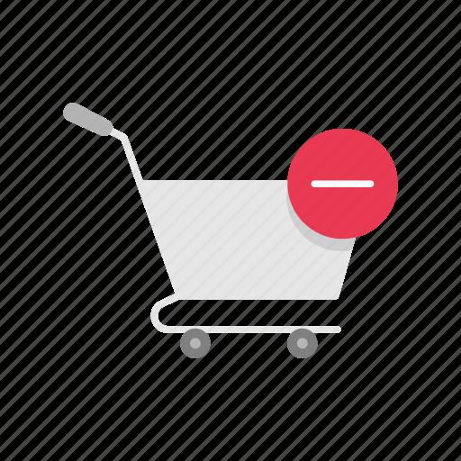 cart, online shopping, push cart, remove item icon