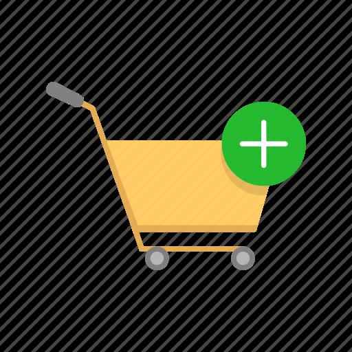 add item, cart, push cart, shopping icon