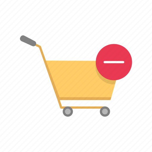 cart, push cart, remove item, shopping icon