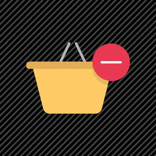 basket, online shopping, remove item, shopping basket icon