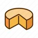 cheddar, cheese, foodstuff, meal, piece icon