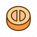 cheddar, cheese, meal, round, taste icon
