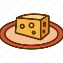 cheddar, cheese, piece, plate, slice