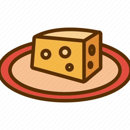 cheddar, cheese, piece, plate, slice icon