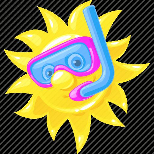 emoticon, scuba diving, summer, sun icon