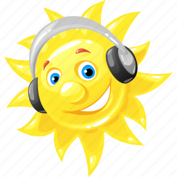 emoticon, headphones, summer, sun icon