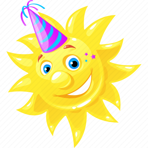 emoticon, happy, party, sun icon