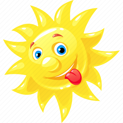 cheerful, emoticon, happy, summer, sun icon