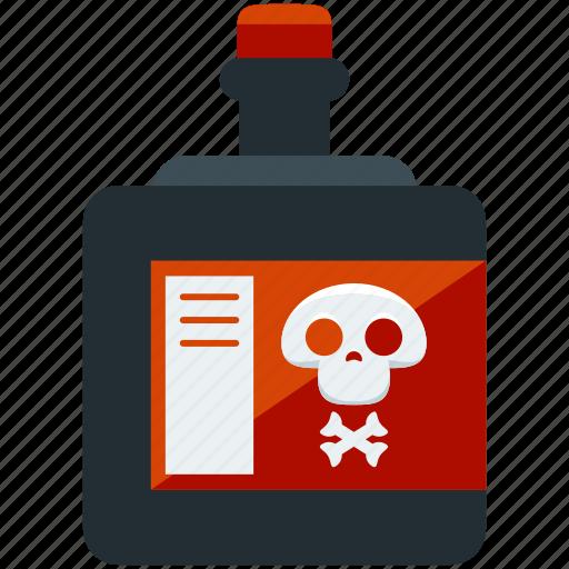 bottle, chemistry, danger, hazard, poison, poisonous icon