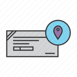 banking, center, check, cheque, collection, location, map icon