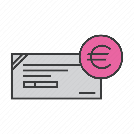 banking, business, ceommerce, check, cheque, euro, finance icon