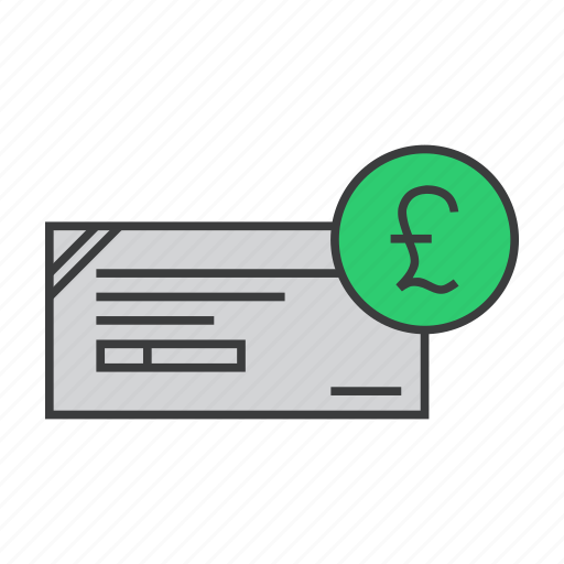 banking, business, check, cheque, finance, pound, trade icon