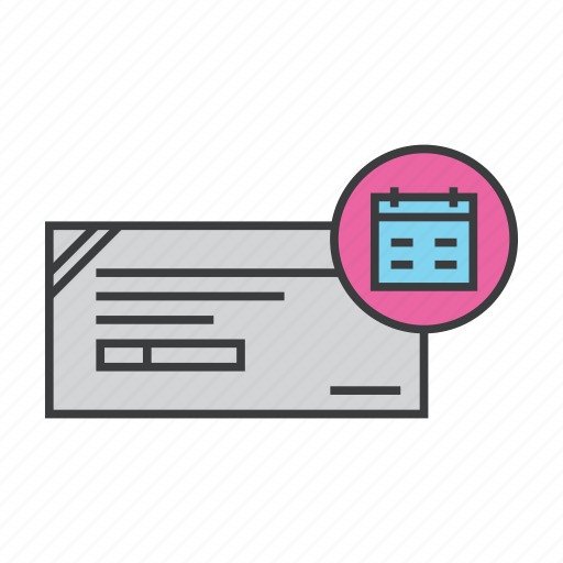 banking, check, cheque, date, deposit, expiry, schedule icon