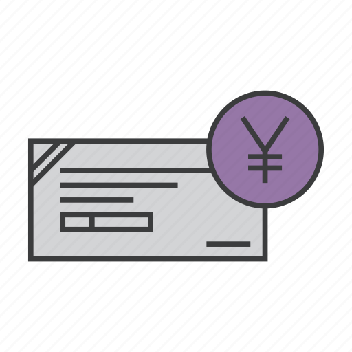 banking, business, check, cheque, commerce, finance, yen icon